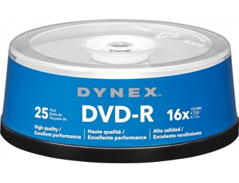 60% off Dynex 25-Pack 16x DVD-R Disc Spindle