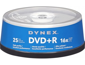 60% off Dynex 25-Pack 16x DVD+R Disc Spindle