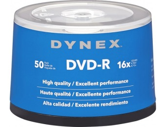 61% off Dynex 16x DVD-R Discs 50-Pack