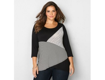 73% off Avenue Plus Size Striped Colorbock Asymmetric Top
