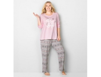 73% off Avenue Plus Size 2-Piece Fairisle Let It Snow Sleep Set