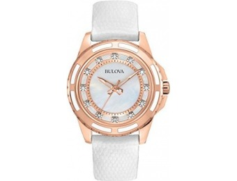 $194 off Bulova Women's Diamond-Accented Watch with Leather Band