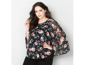 86% off Avenue Plus Size Floral Mesh Poncho