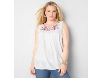 86% off Avenue Plus Size Embroidered Mirror Yoke Tank