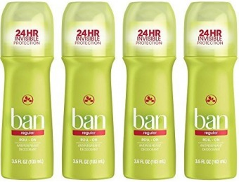 55% off Ban Roll-On Antiperspirant Deodorant, 3.5oz (Pack of 4)