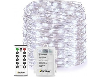 82% off Battery Powered Cool White 33' String Lights With Remote