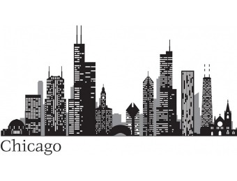 59% off WallPOPs Black Chicago Cityscape Wall Decal