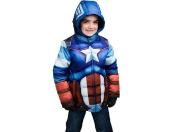 80% off Captain America Puffer Kids Superhero Jacket
