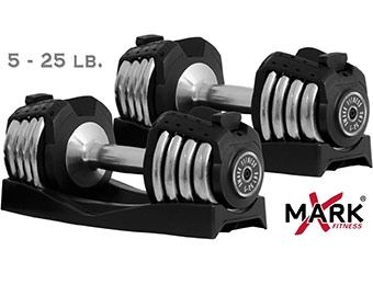 46% off XMark Fitness Pair of Adjustable 25lb. Dumbbells