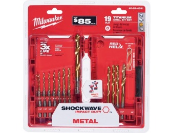 50% off Milwaukee Shockwave Titanium Red Helix Drill Bit Set (19-Pc)
