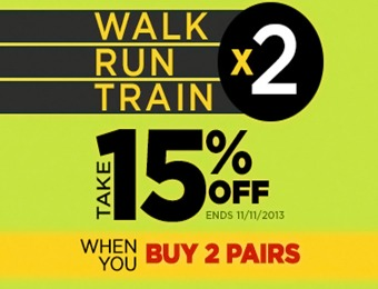 Extra 15% off when you buy 2 pairs of shoes