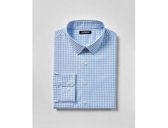 71% off Express Mens Slim Check Point Collar Dress Shirt
