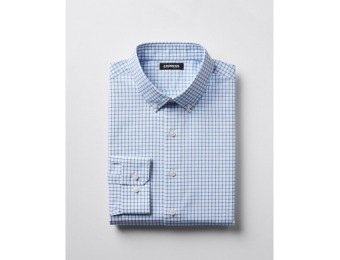 71% off Express Mens Classic Check Button-Down Cotton Dress Shirt