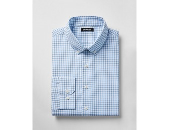 71% off Express Mens Slim Check Button-Down Cotton Dress Shirt