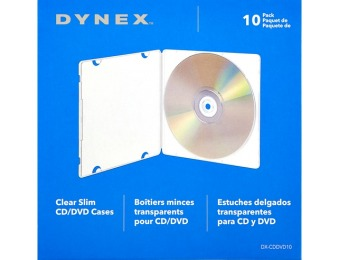 50% off Dynex Slim CD/DVD Cases (10-Pack)