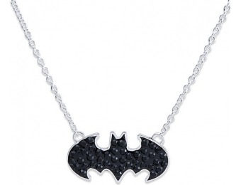95% off Girls Silver Plated Brass Batman Crystal Logo Necklace