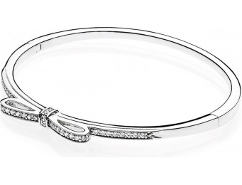 45% off PANDORA Sparkling Bow Bangle Bracelet