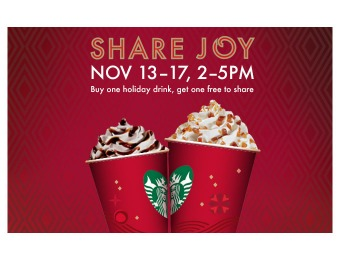 Buy One, Get One Free Starbucks Holiday Beverage, Nov 13th - 17th 2-5 PM