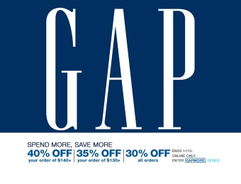 Save 30% off all orders at Gap, 40% off orders of $140+