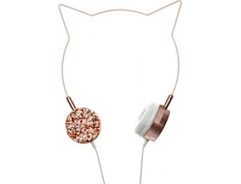 60% off Happy Cat Intro On-Ear Headphones, Rose Gold/Glitter