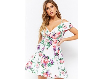 50% off Floral Open-Shoulder Dress