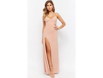 50% off Lace-Up Back V-Neckline Slit-Front Maxi Dress