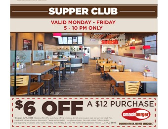 $6 off $12 Purchase at Smashburger
