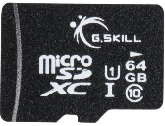 75% off G.Skill 64GB microSDXC UHS-I/U1 Memory Card with Adapter