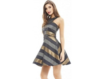 56% off AX Paris Women's Metallic Striped Skater Navy Dress