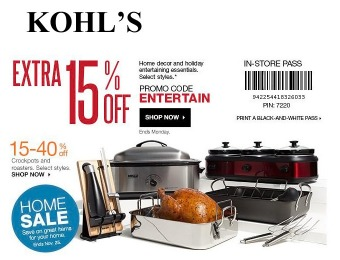 Extra 15% off Home Decor & Holiday Essentials at Kohl's