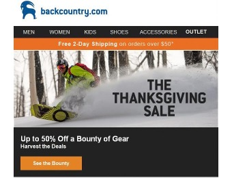 Backcountry Thanksgiving Sale - Up 50% off A Bounty of Gear
