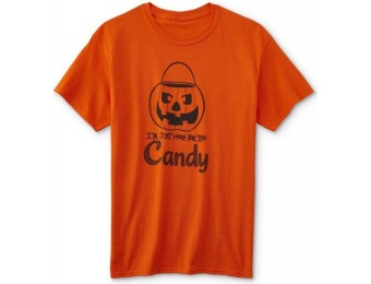 75% off Men's Halloween Graphic T-Shirt - Here for the Candy