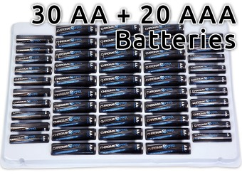 30% off Chrome Pro Series (30) AA + (20) AAA Alkaline Batteries Pack
