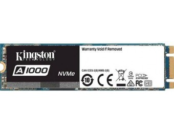 $102 off Kingston 480GB PCI Express 3.0 x2 (NVMe) SSD