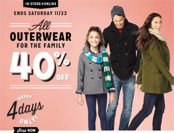 40% off Outerwear for the Entire Family at Old Navy