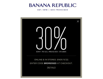 Save 30% off Full-Priced Items at Banana Republic
