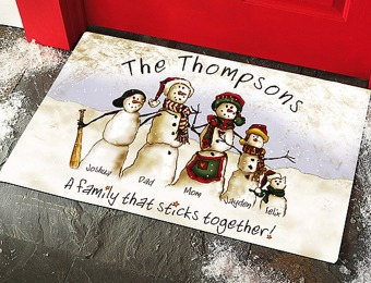 Extra 30% off Personalized Snowmen Stick Family Doormat