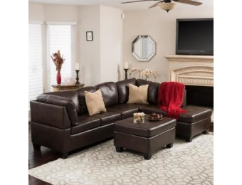 60% off Noble House 3-Pc PU Leather Sectional and Ottoman Set