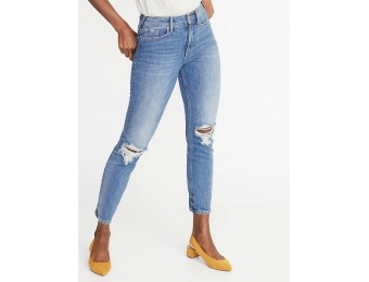 50% off Secret-Slim Distressed Power Straight Ankle Jeans