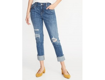 50% off Mid-Rise Distressed Boyfriend Straight Jeans for Women
