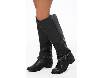 82% off Studded-Strap Faux Leather Knee-High Boots