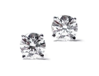 $640 off 1/3 Ct Round Cut 14K White Gold Diamond Stud Earrings