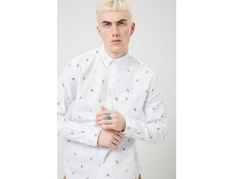 50% off Bird Print Fitted Shirt