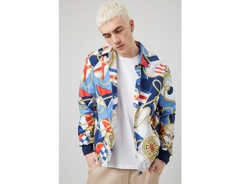 50% off Nautical Print Windbreaker