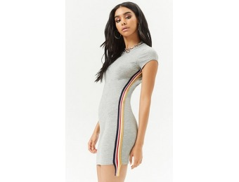 77% off Ribbed Striped-Trim Dress