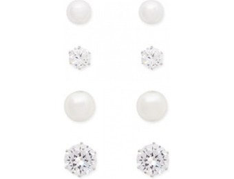 83% off CZ Stone & Faux Pearl Stud Earring Set