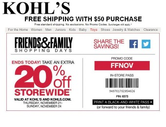 Save 20% off Sitewide During Kohl's Friends & Family Event
