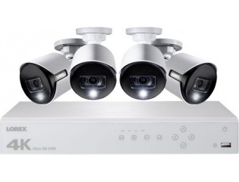 $200 off Lorex 8-Ch 4-Camera 4K 2TB DVR Surveillance System