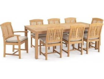 50% off Kooper 9-Pc Wood Outdoor Dining Set w/ Cushions