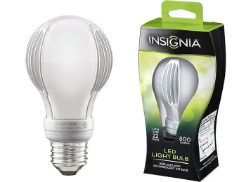 56% off Insignia 800-Lumen, 60W Equiv Dimmable LED Light Bulb